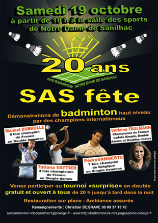 20 ans du club de Badminton Notre-Dame de Sanilhac Périgueux Dordogne 24